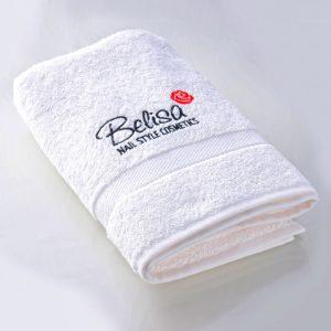 Handtuch Weiß Frottée mit Belisa Logo Nagelkosmetikbedarf